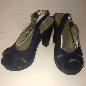 Xhilaration Jean Peep Toed High Heeled Shoes